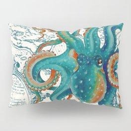 Teal Octopus Vintage Map Watercolor Pillow Sham