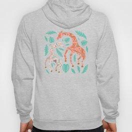 Pink Dancing Giraffes on Teal Green Hoody