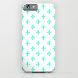 Fleur-de-Lis (Turquoise & White Pattern) iPhone Case