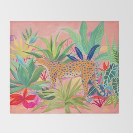 Leopard in Succulent Garden Throw Blanket