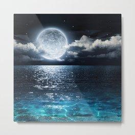 Full Moon over Ocean Metal Print