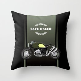 vintage motorcycle poster vector illustration Throw Pillow