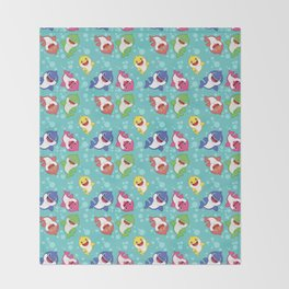 Blue Baby Shark Colorful Family Doo doo Pattern Throw Blanket