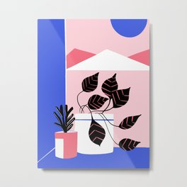 Minimalist mountains with plants Metal Print