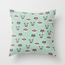 Christmas woodland animals in goggles fox bear and cats kids winter pattern mint Throw Pillow