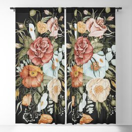 Roses and Poppies Bouquet on Charcoal Black Blackout Curtain