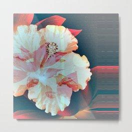 Retro Soft Vivid Hibiscus Floral Metal Print