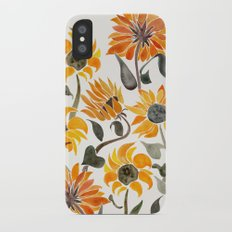 Sunflower Watercolor – Yellow & Black Palette iPhone X Slim Case