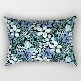 Tropical Floral Aqua Rectangular Pillow