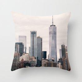 View of Manhattan Buildings Throw Pillow