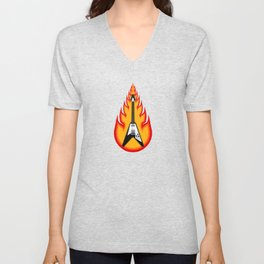 Guitar With Fire Graphics Unisex V-Neck