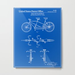 Tandem Bicycle Patent - Blueprint Metal Print