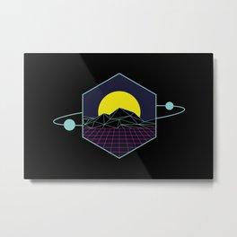 Outrun to the Sun / Spacewave / 80s Retro Metal Print