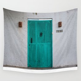 Turquoise Mint Door Wall Tapestry