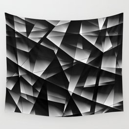 Exclusive toned pattern of chaotic black and white fragments of glass, foil, and silver plates. Wall Tapestry