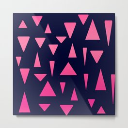 Geometric navy blue neon pink gradient triangles Metal Print