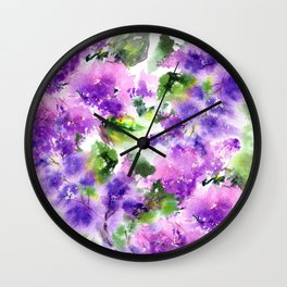 Lilac flowers. Watercolor lilac blossom. Violet florals. Wall Clock