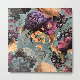 Vintage & Shabby Chic - Grey Botanical Lush Flowers Evening Garden Metal Print