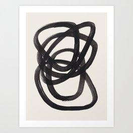 Mid Century Modern Minimalist Abstract Art Brush Strokes Black & White Ink Art Spiral Circles Art Print