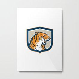 Angry Tiger Head Sitting Growling Shield Retro Metal Print