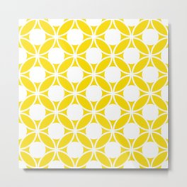 Geometric Floral Circles Summer Sun Shine White on Bright Yellow Metal Print