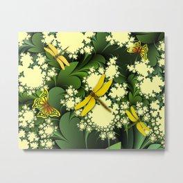 Yellow Dragonflies Metal Print