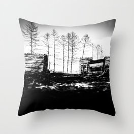 Poltery Site (Wood Storage Area) After Storm Victoria Möhne Forest 2 bw Throw Pillow