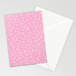 Festive Sweet Lilac Pink and White Christmas Holiday Snowflakes Stationery Cards