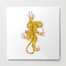 Yellow Vintage Japanese Tiger Metal Print
