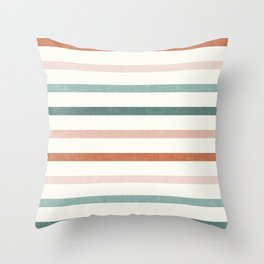 sunset stripes in terra cotta and jade Throw Pillow
