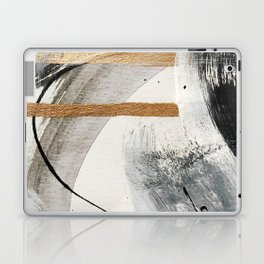 Armor [7]: a bold minimal abstract mixed media piece in gold, black and white Laptop & iPad Skin