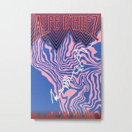 Alpe D'Huez Cycling Artwork Metal Print