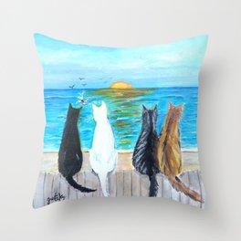 Cat Beach Sunset Throw Pillow