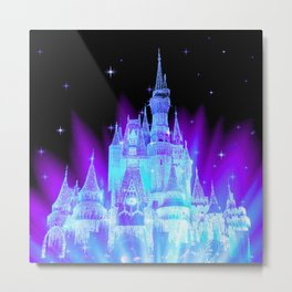 Enchanted Castle Turquoise Purple Metal Print