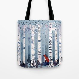 The Birches (in Blue) Tote Bag
