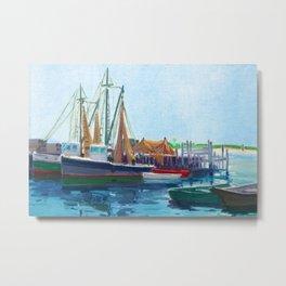 Galilee Fishing Village, Jerusalem, Point Judith, Narragansett, Rhode Island landscape painting Metal Print