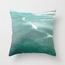 California Surf // Coastal Spring Waves Teal Blue and Green Ocean Huntington Beach Views Throw Pillow