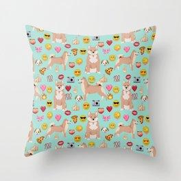 shiba inu emoji dog breed pattern Throw Pillow