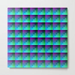 Aubergine and Aqua Geometric Pİxel Art Tile Pattern Metal Print