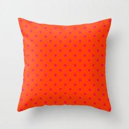 Orange Pop and Hot Neon Pink Polka Dots Throw Pillow