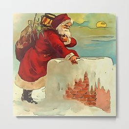 Santa Stepping Into A Rooftop Chimney Metal Print