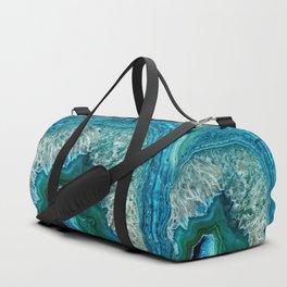 Aqua turquoise agate mineral gem stone Duffle Bag