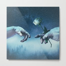 Robonauts - hands and rose in space Metal Print