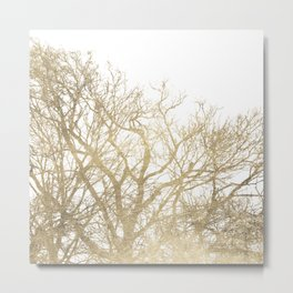 Elegant botanical gold foil tree  branch Metal Print