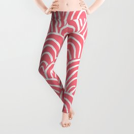 Abstract Scales (White on Pink) Leggings