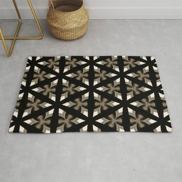 Black, Tan and Cream Kaleidoscope Pattern Rug