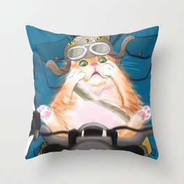 Biker Cat Throw Pillow