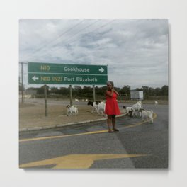 #Photo185 #206 Lady in Red with Goats Metal Print