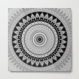Black and White Mandala Two Metal Print