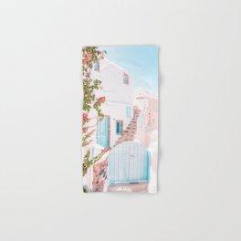 Santorini Greece Mamma Mia Pink House Travel Photography in hd. Hand & Bath Towel